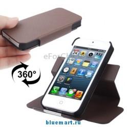 Защитный кожаный чехол с магнитной застежкой для iPhone 5