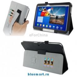Кожаный чехол с разделами для карт и эластичной ручкой для Samsung Galaxy Tab 3 (10.1) / GT-P5200