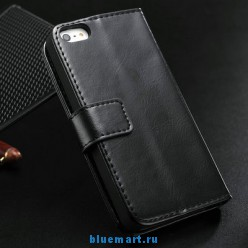 Кожаный чехол для iPhone 5 с отделением для пластиковых карт и купюр, 6 цветов