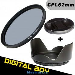 Набор: циркулярно-поляризационный фильтр 62 мм, бленда, крышка объектива; для Canon; Nikon; Sony; Pentex