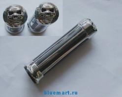 Рукоятки подачи газа для мотоцикла, универсальные, хром, с изображением черепа, диаметр 7/8 дюйма