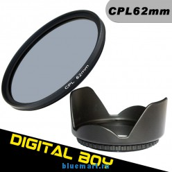 Набор: циркулярно-поляризационный фильтр 62 мм, бленда 62 мм для Canon; Nikon; Sony; Pentex