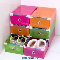 Прозрачный пластиковый ящик для обуви, 34х22х13 см