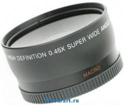 0.45X 58мм Широкоугольный объектив для Canon 400D 450D 1000D  с насадкой для макросъемки