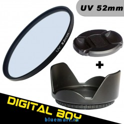 набор: 52 мм UV-фильтр; 52 мм бленда; 52 мм крышка объектива для Canon; Nikon d3100 d5100