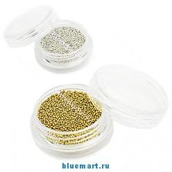 Бисер для декорации ногтей 1мм, золотой, серебряный