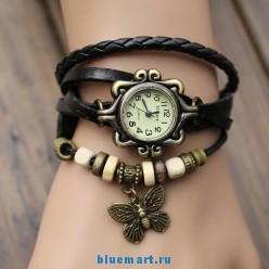 Женские наручные часы с винтажным кожаным ремешком