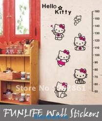 Наклейка на стену Hello Kitty в виде линейки 50-160 см