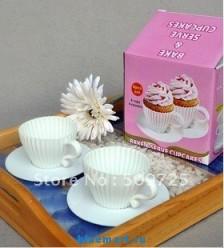 Комплект силиконовый чашки+блюдце для выпечки, 4 шт