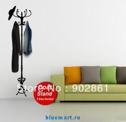 Наклейка на стену в виде вешалки для одежды