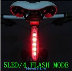 Задний фонарь для велосипеда, 5 светодиодов, 4 режима работы, влагозащитное исполнение