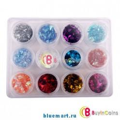 Набор блёсток для ногтей (12 цветов)