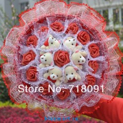 Букет из мишек Тедди и роз, 30х30 см